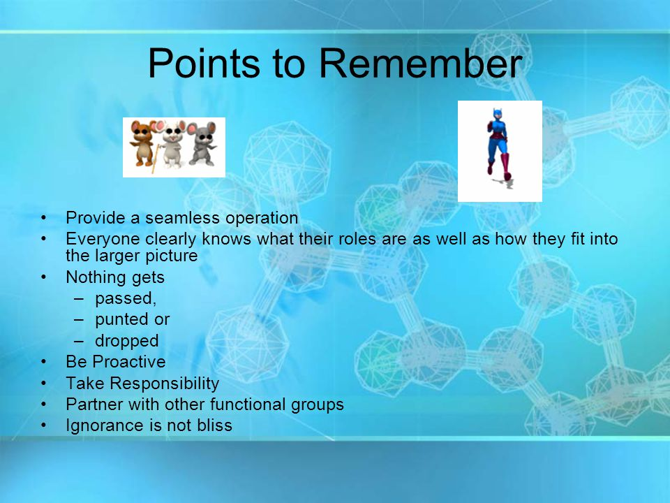 Points to Remember Provide a seamless operation Everyone clearly knows what their roles are as well as how they fit into the larger picture Nothing gets –p–passed, –p–punted or –d–dropped Be Proactive Take Responsibility Partner with other functional groups Ignorance is not bliss