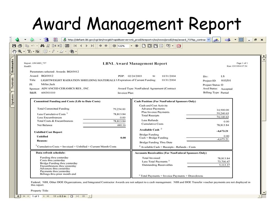 Award Management Report
