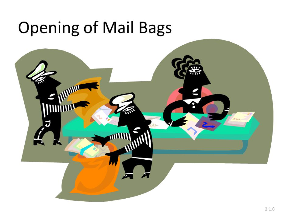 Transfer of contents of station mail bag Contents Reg.bag Parcel list with Parcels Unaccountable articles To Registration PA Parcel PA For pre-delivery process 2.1.7