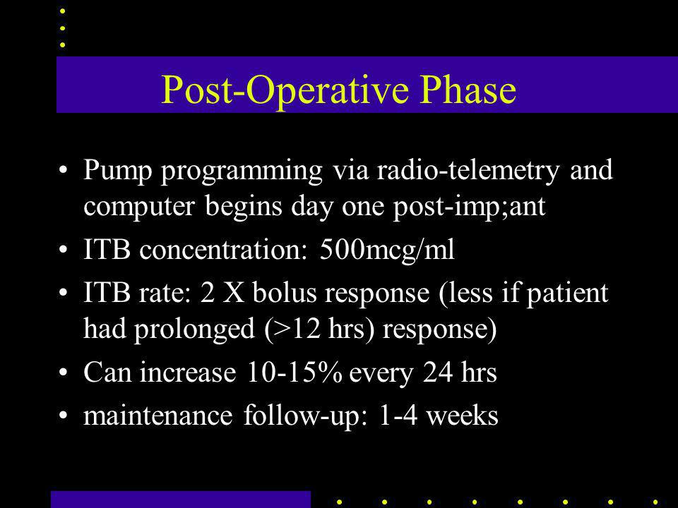 Post-Operative Phase Pump programming via radio-telemetry and computer begins day one post-imp;ant ITB concentration: 500mcg/ml ITB rate: 2 X bolus response (less if patient had prolonged (>12 hrs) response) Can increase 10-15% every 24 hrs maintenance follow-up: 1-4 weeks