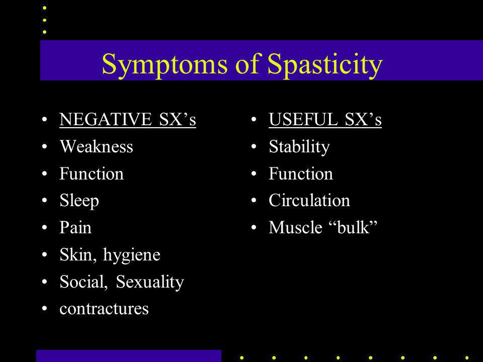 Symptoms of Spasticity NEGATIVE SX's Weakness Function Sleep Pain Skin, hygiene Social, Sexuality contractures USEFUL SX's Stability Function Circulation Muscle bulk