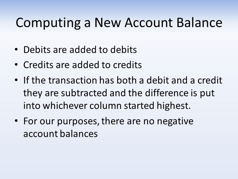 Computing a New Account Balance Debits are added to debits Credits are added to credits If the transaction has both a debit and a credit they are subtracted and the difference is put into whichever column started highest.