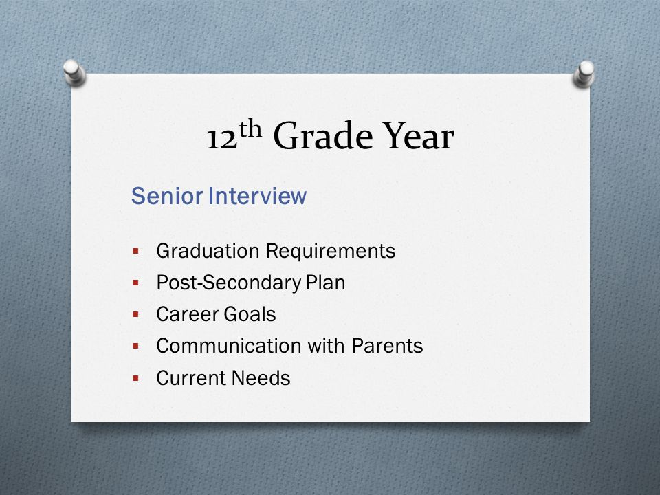 12 th Grade Year Senior Interview  Graduation Requirements  Post-Secondary Plan  Career Goals  Communication with Parents  Current Needs