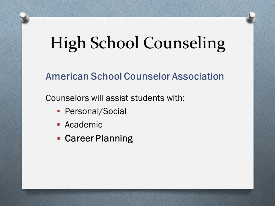 American School Counselor Association Counselors will assist students with:  Personal/Social  Academic  Career Planning High School Counseling