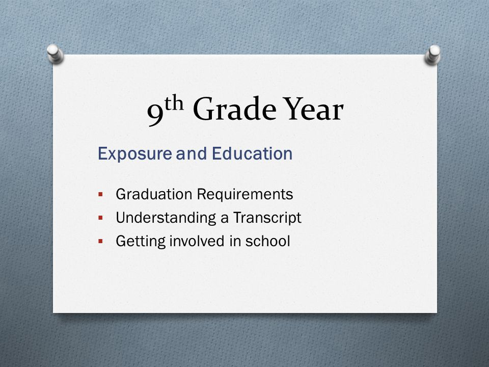 9 th Grade Year Exposure and Education  Graduation Requirements  Understanding a Transcript  Getting involved in school