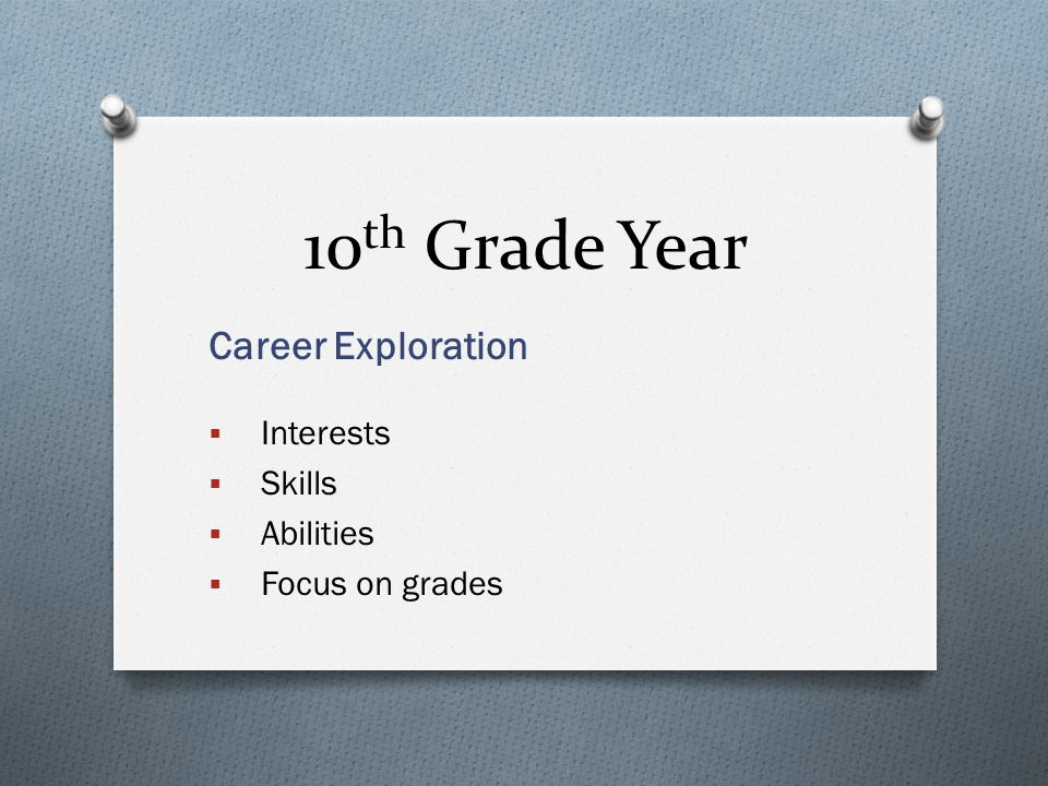 10 th Grade Year Career Exploration  Interests  Skills  Abilities  Focus on grades