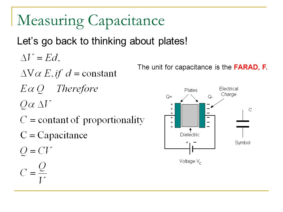 Measuring Capacitance Let's go back to thinking about plates! The unit for capacitance is the FARAD, F.
