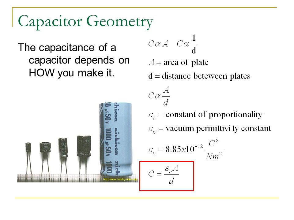 Capacitor Geometry The capacitance of a capacitor depends on HOW you make it.
