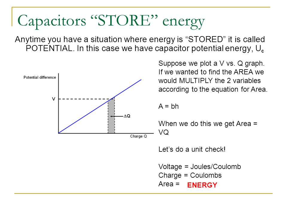"Capacitors ""STORE"" energy Anytime you have a situation where energy is ""STORED"" it is called POTENTIAL. In this case we have capacitor potential energ"