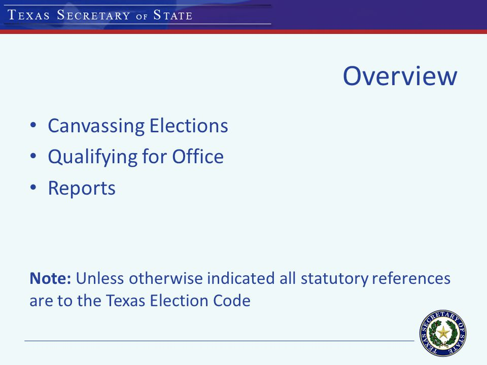 CANVASSING ELECTIONS