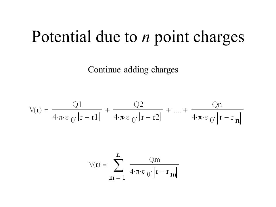 Potential due to n point charges Continue adding charges
