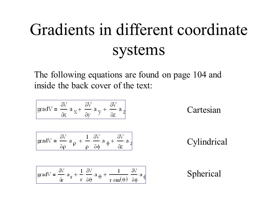 Gradients in different coordinate systems The following equations are found on page 104 and inside the back cover of the text: Cartesian Cylindrical S