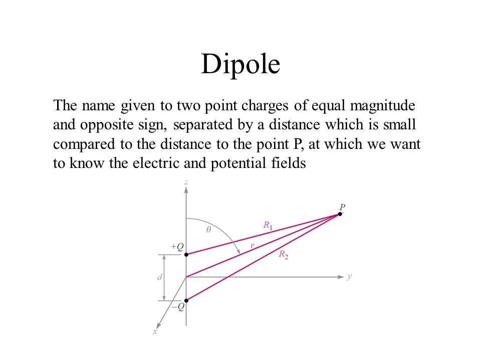 Dipole The name given to two point charges of equal magnitude and opposite sign, separated by a distance which is small compared to the distance to th