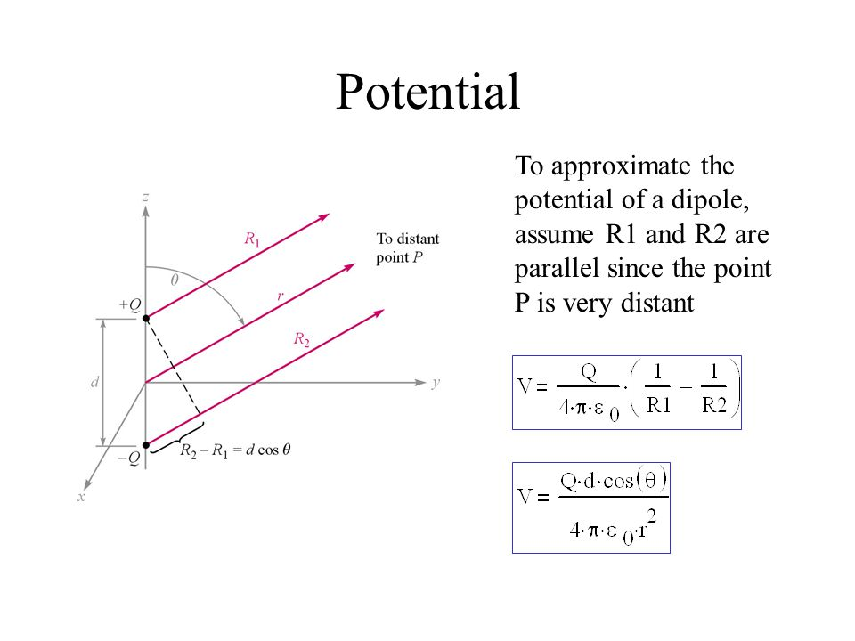 Potential To approximate the potential of a dipole, assume R1 and R2 are parallel since the point P is very distant
