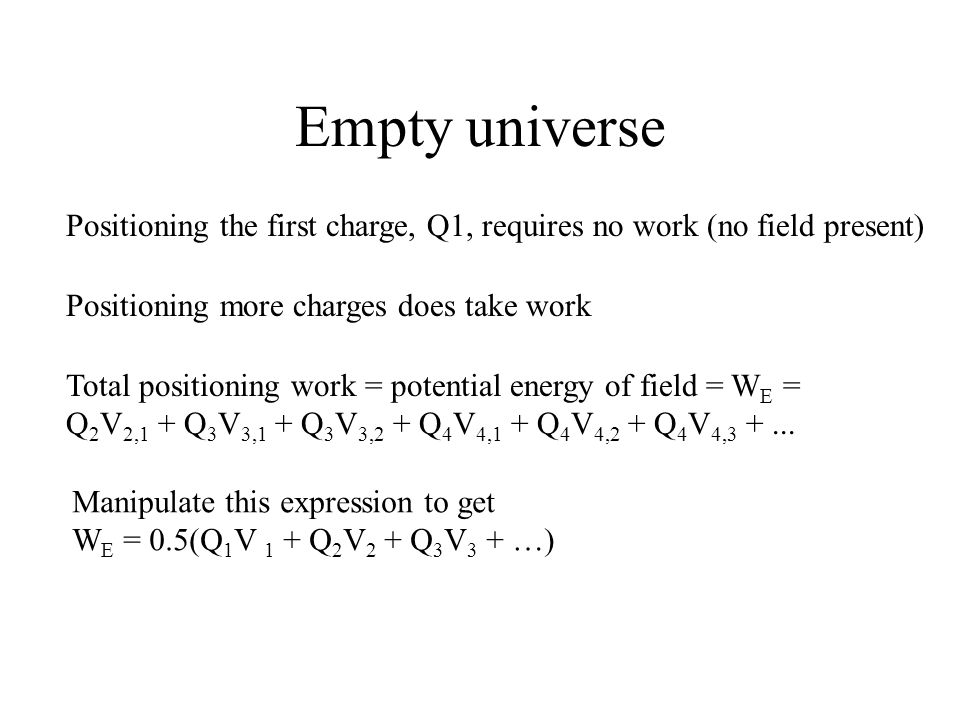 Empty universe Positioning the first charge, Q1, requires no work (no field present) Positioning more charges does take work Total positioning work =