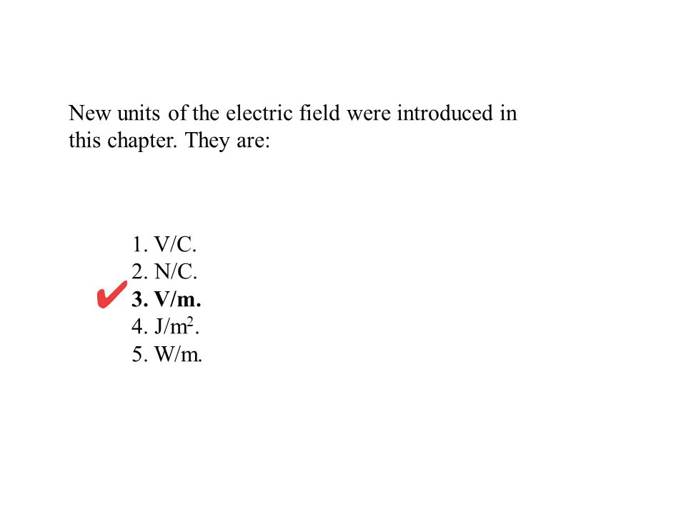 New units of the electric field were introduced in this chapter.