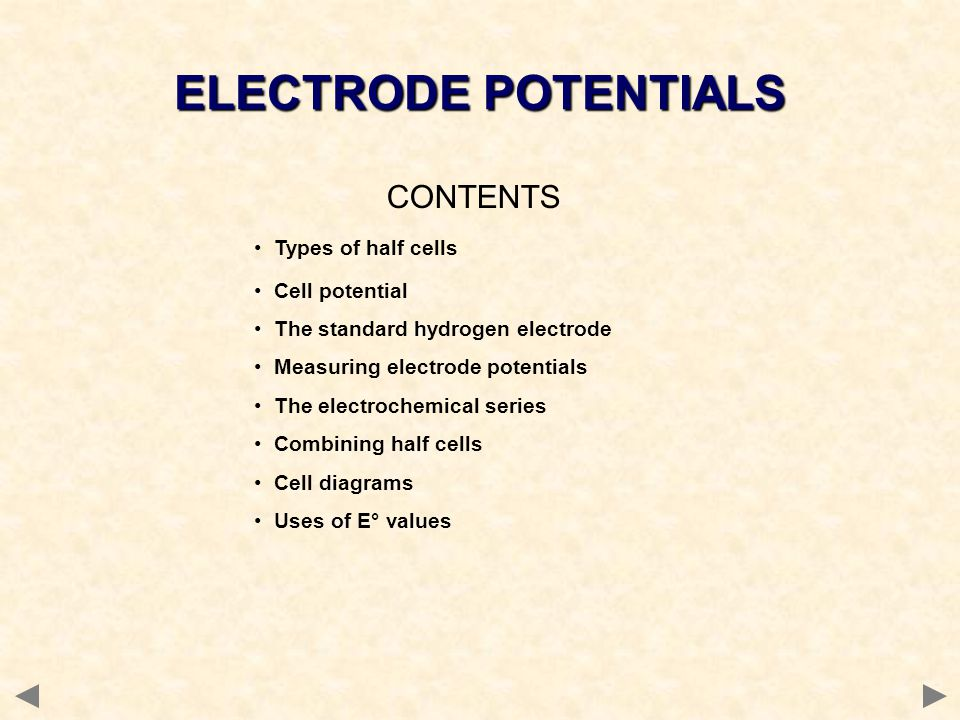 CONTENTS Types of half cells Cell potential The standard hydrogen electrode Measuring electrode potentials The electrochemical series Combining half c