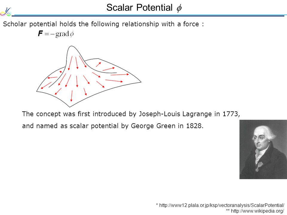 Scalar Potential  Scholar potential holds the following relationship with a force : * http://www12.plala.or.jp/ksp/vectoranalysis/ScalarPotential/ The concept was first introduced by Joseph-Louis Lagrange in 1773, and named as scalar potential by George Green in 1828.