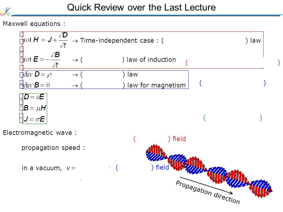 Quick Review over the Last Lecture Maxwell equations :  Time-independent case : ( Ampère's / Biot-Savart ) law  ( Gauss ) law  ( Gauss ) law for magnetism  ( Faraday's ) law of induction ( Initial conditions ) ( Assumptions ) ( Time-dependent equations ) Electromagnetic wave : ( Electric ) field ( Magnetic ) field Propagation direction propagation speed : in a vacuum,