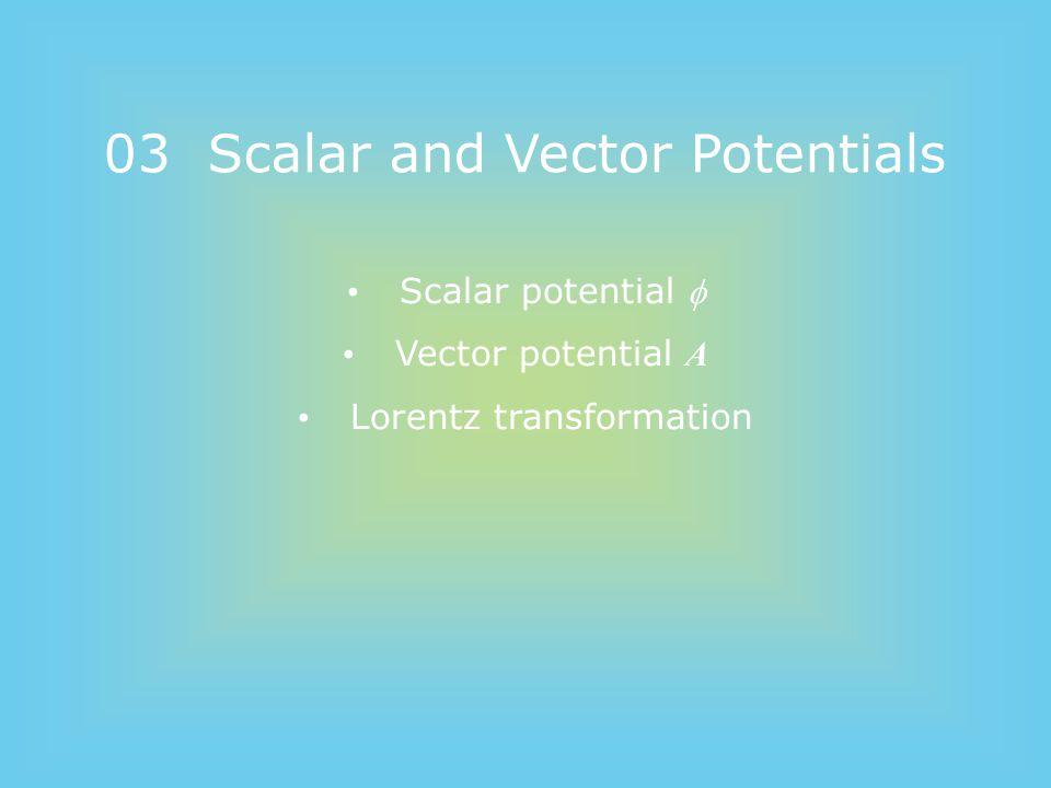 03 Scalar and Vector Potentials Scalar potential  Vector potential A Lorentz transformation