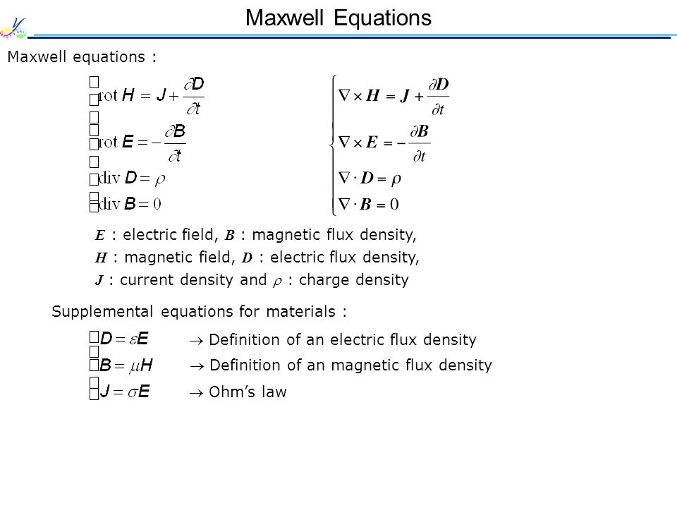 Maxwell Equations Maxwell equations : E : electric field, B : magnetic flux density, H : magnetic field, D : electric flux density, J : current density and  : charge density Supplemental equations for materials :  Definition of an electric flux density  Definition of an magnetic flux density  Ohm's law