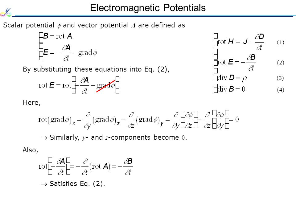 Electromagnetic Potentials Scalar potential  and vector potential A are defined as By substituting these equations into Eq.