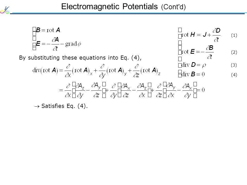 Electromagnetic Potentials (Cont'd) (1) (2) (3) (4)  Satisfies Eq. (4). By substituting these equations into Eq. (4),