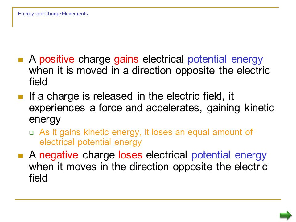 Electric Potential Difference The amount of work required per unit charge to move a positive charge from one point to another in the presence of an el