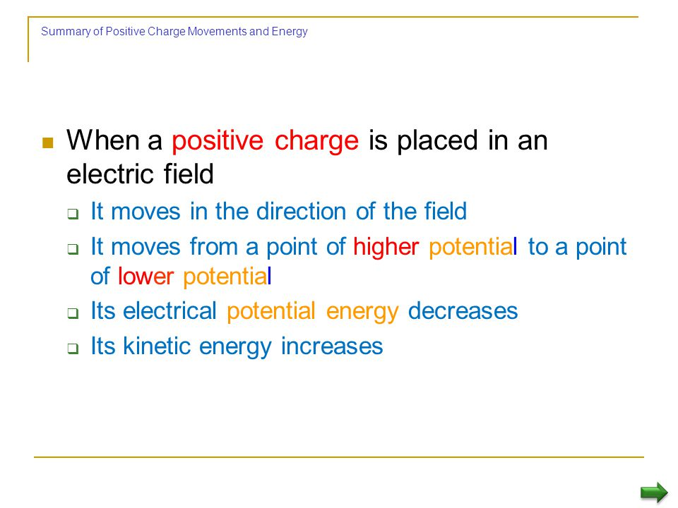 Energy and Charge Movements When the electric field is directed downward, point B is at a lower potential than point A A positive test charge that mov