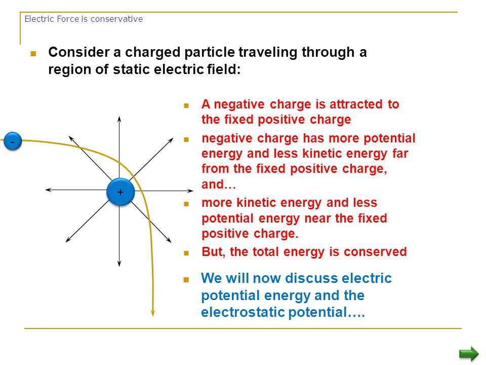 Summary Electric Potential Difference  Is the amount of work required per unit charge to move a positive charge from one point to another in the presence of an electric field.
