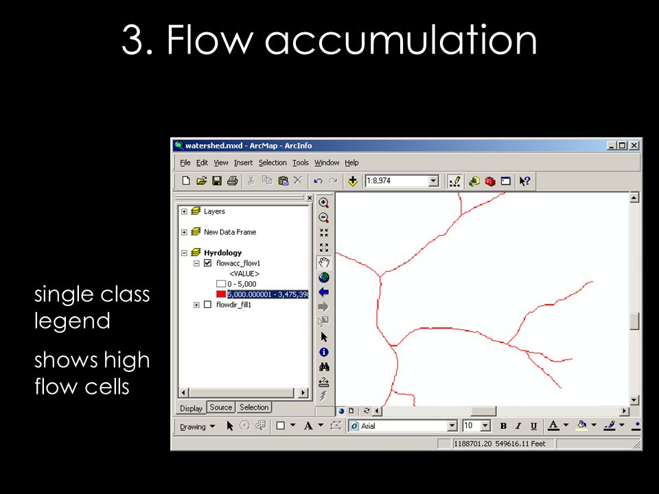single class legend shows high flow cells 3. Flow accumulation