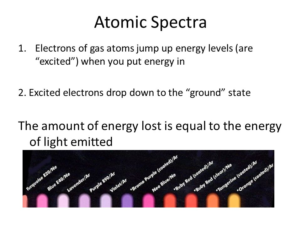 """Atomic Spectra 1.Electrons of gas atoms jump up energy levels (are """"excited"""") when you put energy in 2. Excited electrons drop down to the """"ground"""" st"""