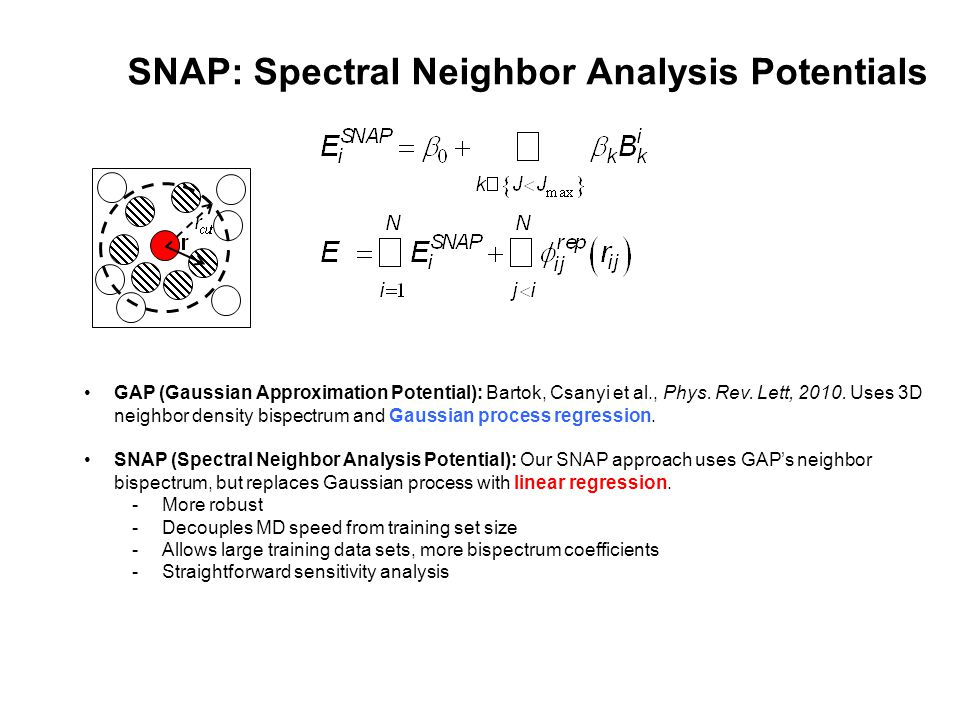 SNAP: Spectral Neighbor Analysis Potentials GAP (Gaussian Approximation Potential): Bartok, Csanyi et al., Phys. Rev. Lett, 2010. Uses 3D neighbor den