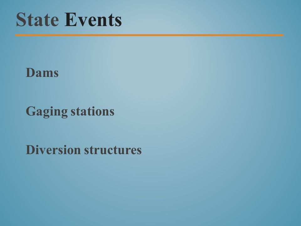 State Events Dams Gaging stations Diversion structures