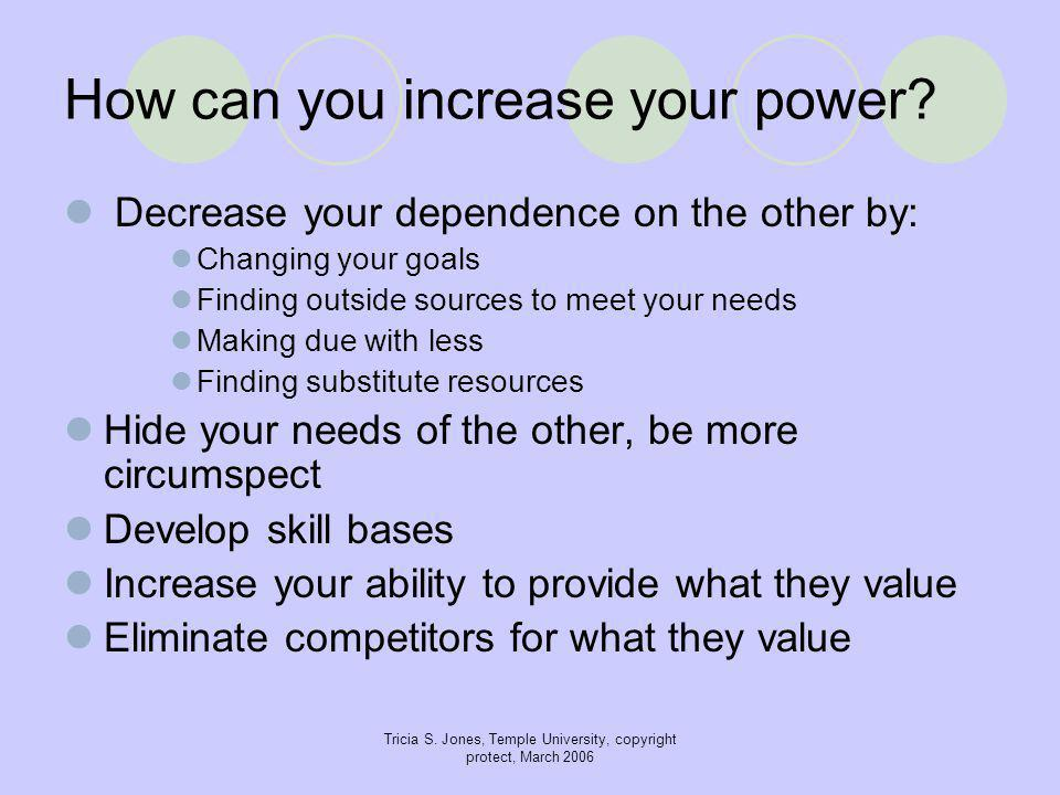 Tricia S. Jones, Temple University, copyright protect, March 2006 How can you increase your power.