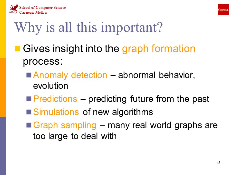 School of Computer Science Carnegie Mellon 12 Why is all this important? Gives insight into the graph formation process: Anomaly detection – abnormal