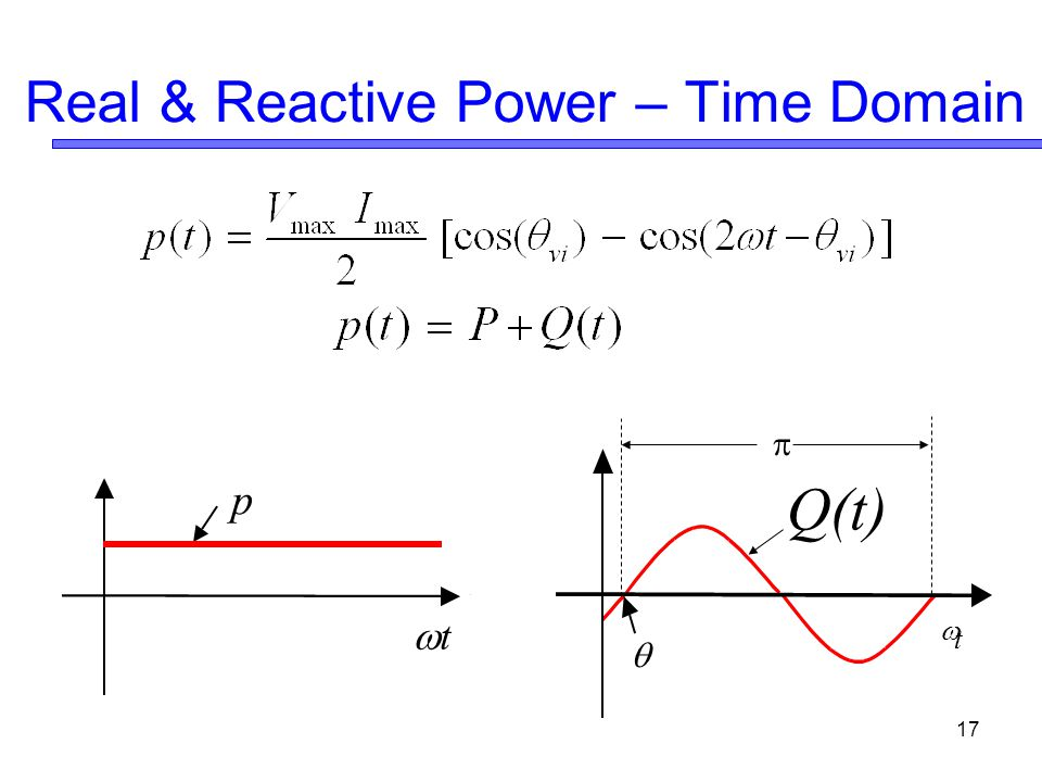 17 Real & Reactive Power – Time Domain  t Q(t)   tt p