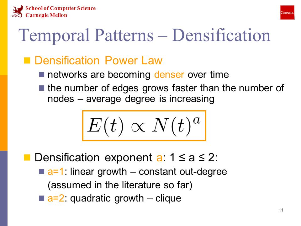 School of Computer Science Carnegie Mellon 11 Temporal Patterns – Densification Densification Power Law networks are becoming denser over time the number of edges grows faster than the number of nodes – average degree is increasing Densification exponent a: 1 ≤ a ≤ 2: a=1: linear growth – constant out-degree (assumed in the literature so far) a=2: quadratic growth – clique
