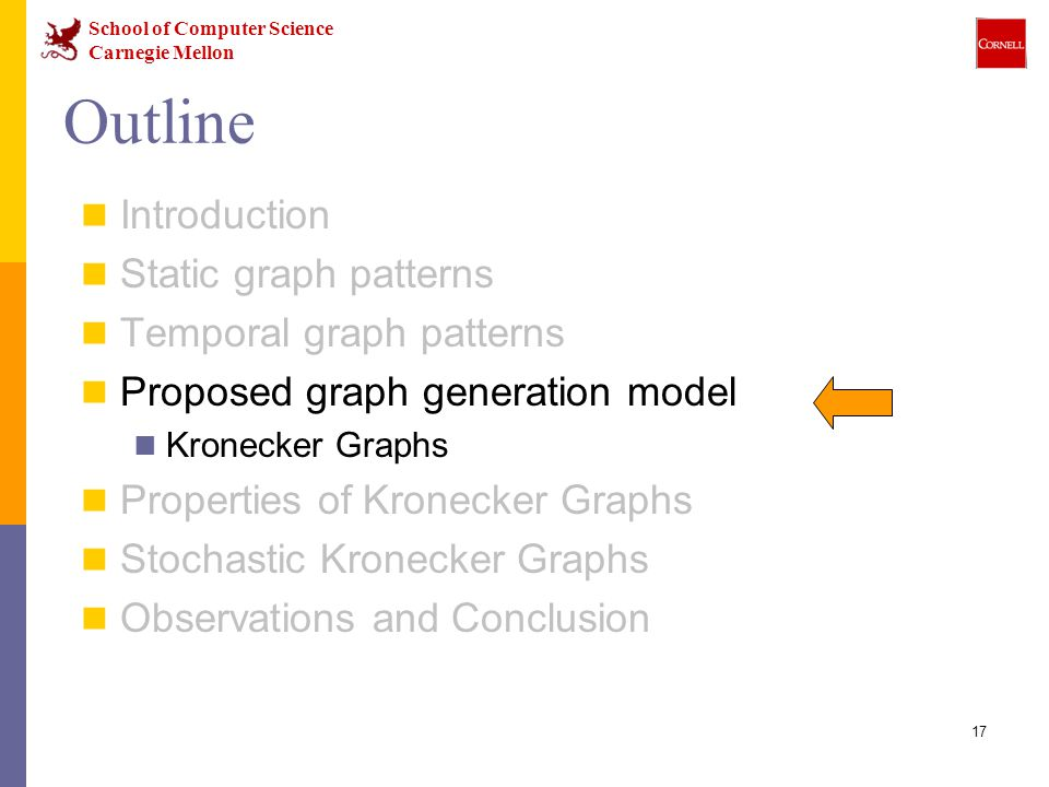 School of Computer Science Carnegie Mellon 17 Outline Introduction Static graph patterns Temporal graph patterns Proposed graph generation model Kronecker Graphs Properties of Kronecker Graphs Stochastic Kronecker Graphs Observations and Conclusion