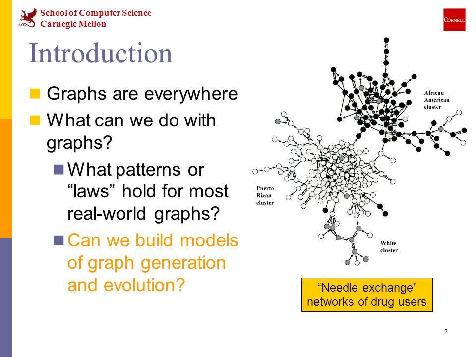 School of Computer Science Carnegie Mellon 53 Conclusion (1) We propose a family of Kronecker Graph generators We use the Kronecker Product We introduce a randomized version Stochastic Kronecker Graphs