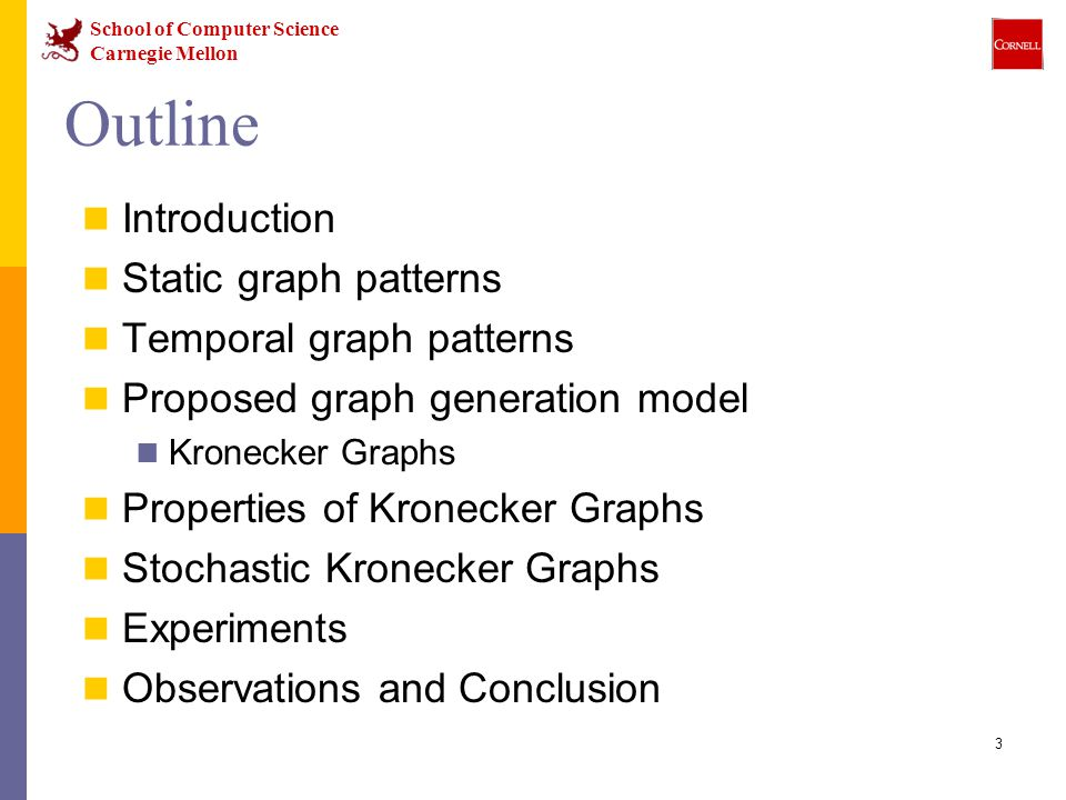 School of Computer Science Carnegie Mellon 24 Kronecker Graphs We propose a growing sequence of graphs by iterating the Kronecker product Each Kronecker multiplication exponentially increases the size of the graph