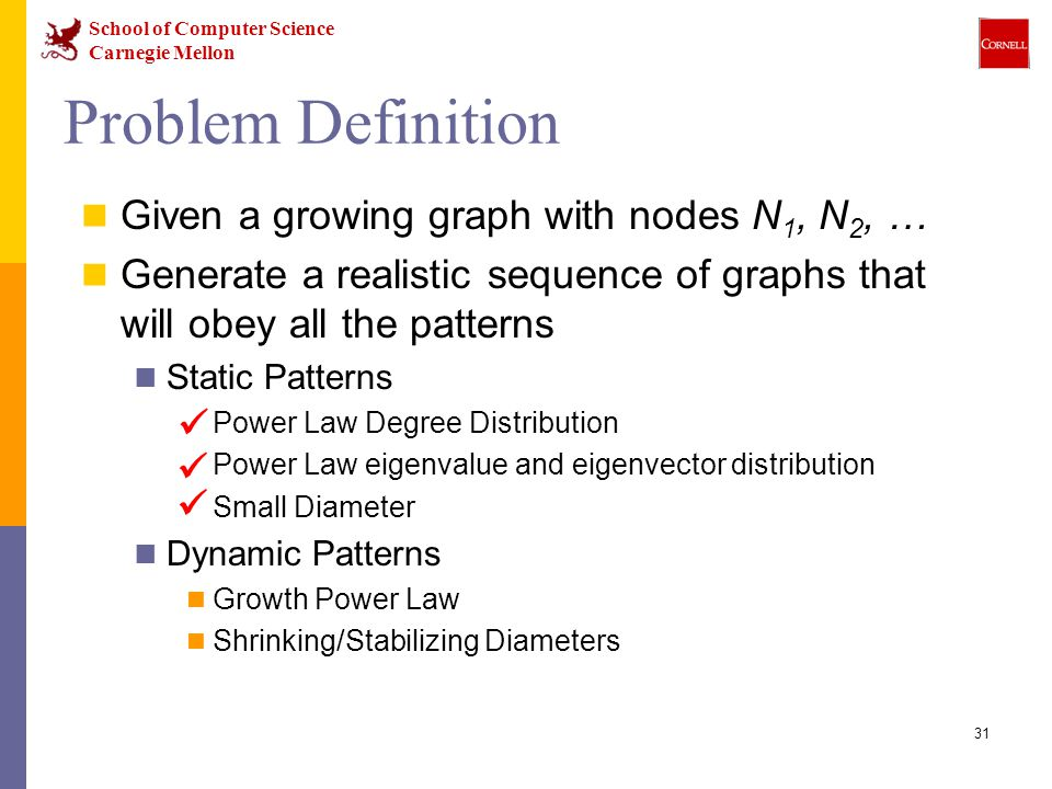 School of Computer Science Carnegie Mellon 31 Problem Definition Given a growing graph with nodes N 1, N 2, … Generate a realistic sequence of graphs that will obey all the patterns Static Patterns Power Law Degree Distribution Power Law eigenvalue and eigenvector distribution Small Diameter Dynamic Patterns Growth Power Law Shrinking/Stabilizing Diameters