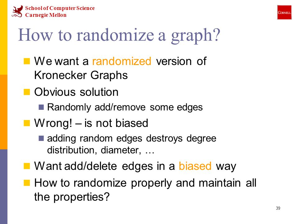 School of Computer Science Carnegie Mellon 39 How to randomize a graph.