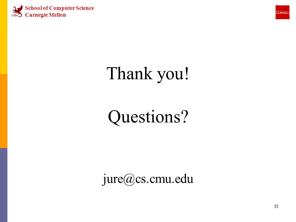 School of Computer Science Carnegie Mellon 55 Thank you! Questions jure@cs.cmu.edu