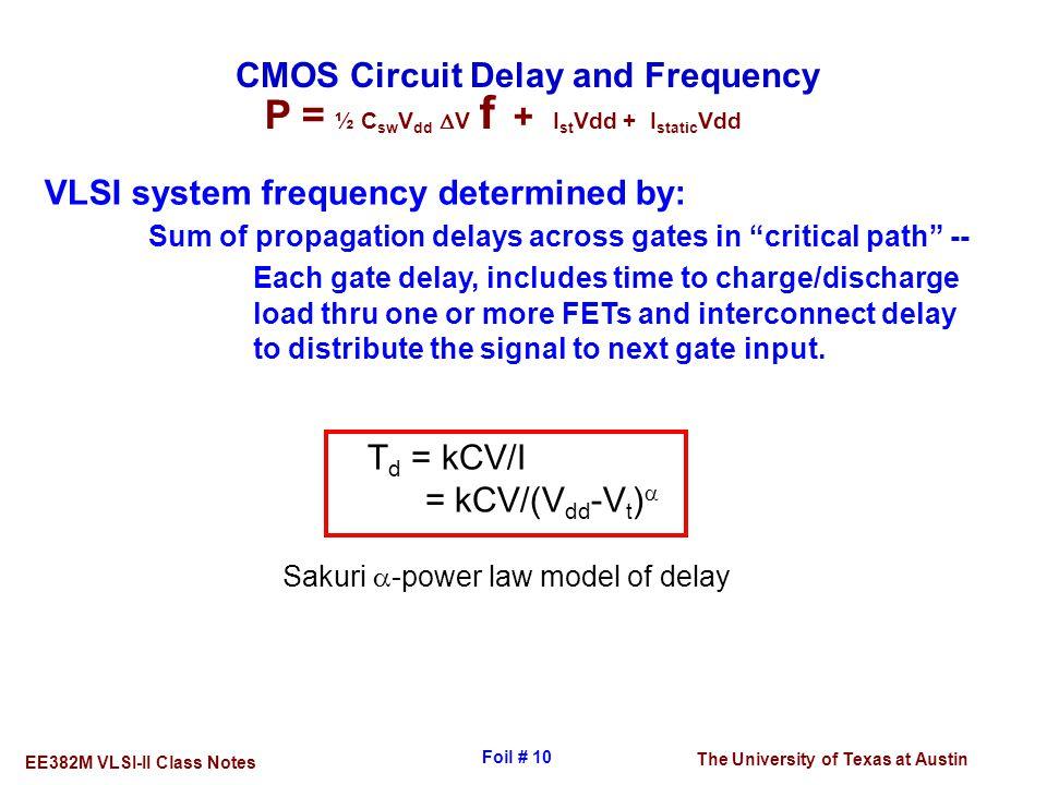 The University of Texas at Austin EE382M VLSI-II Class Notes Foil # 10 CMOS Circuit Delay and Frequency T d = kCV/I = kCV/(V dd -V t )  VLSI system f