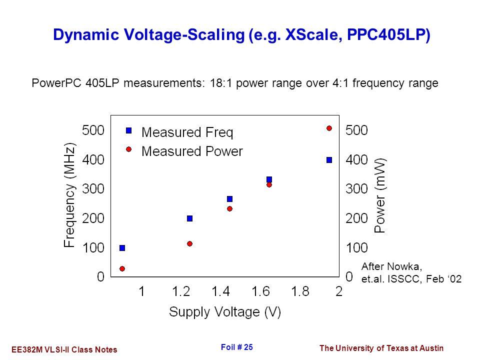 The University of Texas at Austin EE382M VLSI-II Class Notes Foil # 25 Dynamic Voltage-Scaling (e.g. XScale, PPC405LP) After Nowka, et.al. ISSCC, Feb