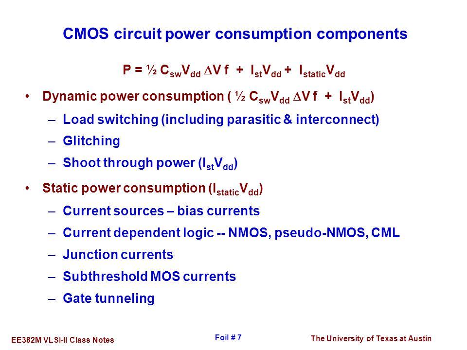 The University of Texas at Austin EE382M VLSI-II Class Notes Foil # 7 CMOS circuit power consumption components P = ½ C sw V dd  V f + I st V dd + I