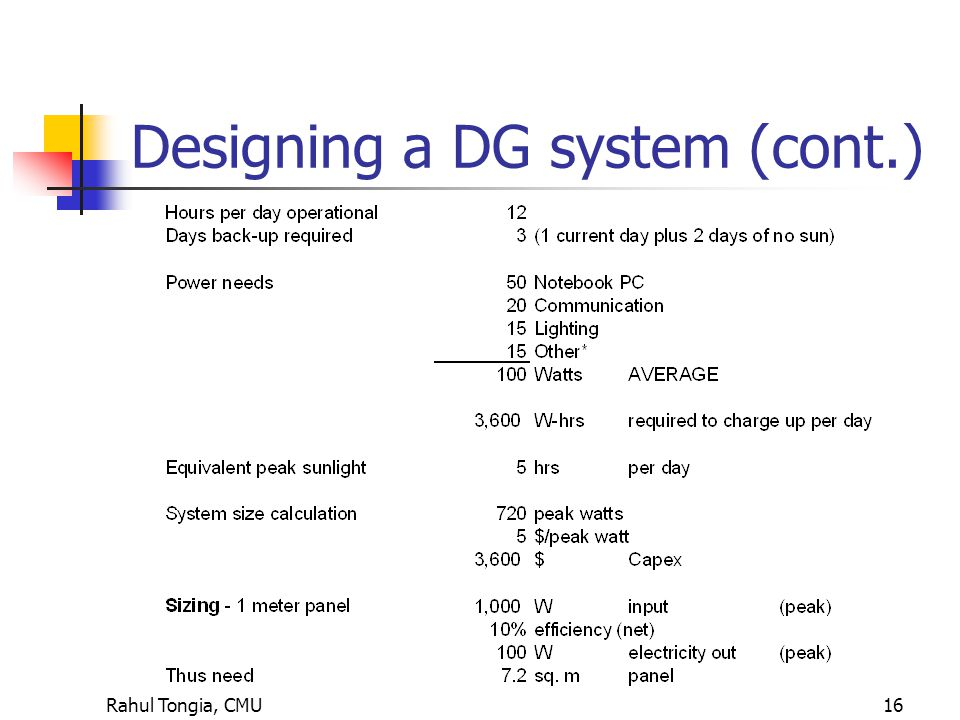 Rahul Tongia, CMU16 Designing a DG system (cont.)