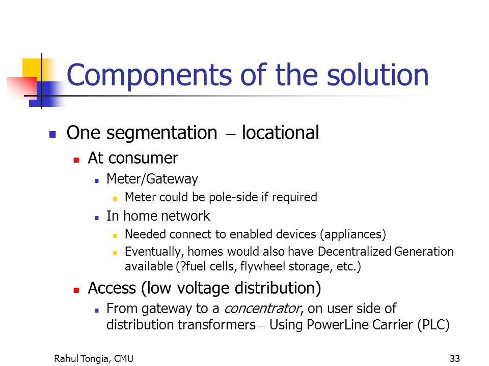 Rahul Tongia, CMU33 Components of the solution One segmentation – locational At consumer Meter/Gateway Meter could be pole-side if required In home network Needed connect to enabled devices (appliances) Eventually, homes would also have Decentralized Generation available ( fuel cells, flywheel storage, etc.) Access (low voltage distribution) From gateway to a concentrator, on user side of distribution transformers – Using PowerLine Carrier (PLC)