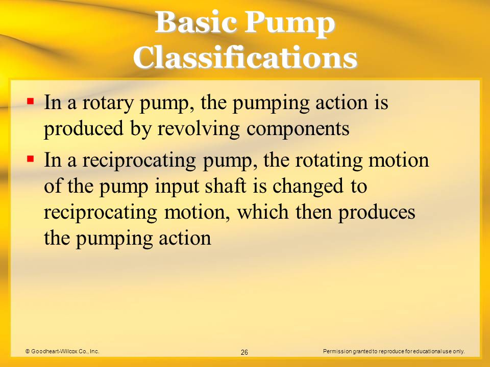 © Goodheart-Willcox Co., Inc.Permission granted to reproduce for educational use only. 26 Basic Pump Classifications  In a rotary pump, the pumping a